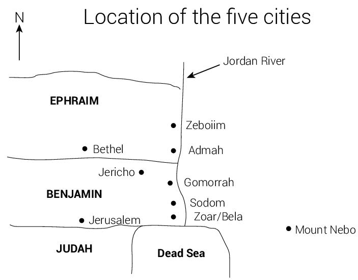 Az öt, Bibliában említett kánaánita város valószínű helyzete. Kép forrása